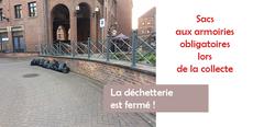 Sacs aux armoiries de la ville de Mouscron sont obligatoires et fermeture définitive de la déchetterie
